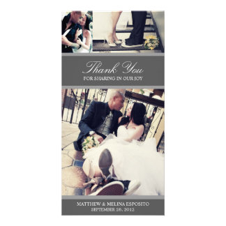 CHIC SILVER GRATITUDE | WEDDING THANK YOU CARD PHOTO CARD TEMPLATE