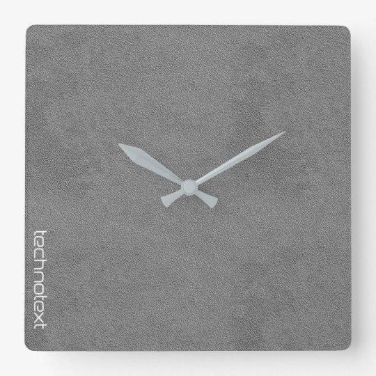 Chic Silver Grey Leather Look Square Wall Clock
