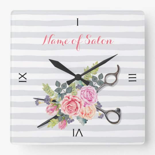 Chic Silver Scissors Hair Salon Stripes and Roses