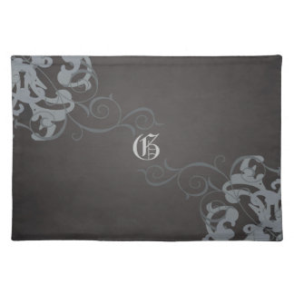 Chic Silver Scroll Black Monogram Placemats