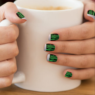 Chic Silver Tipped Green Zebra Print Nails Minx Nail Art