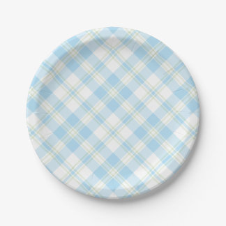 Chic Sky Blue and White Check Paper Plate