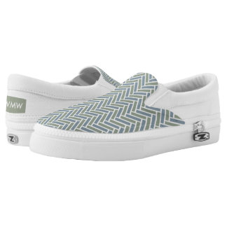 CHIC SLIP-0N ZIPZ_GREEN/BLUE-GREY HERRINGBONE SLIP ON SHOES