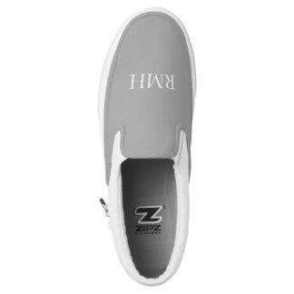 CHIC SLIP-0N ZIPZ_WHITE MONOGRAM ON GREY Slip-On SHOES