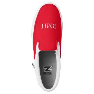 CHIC SLIP-0N ZIPZ_WHITE MONOGRAM ON RED PRINTED SHOES