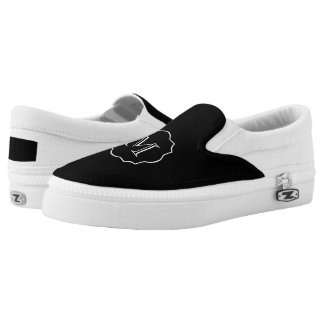 CHIC SLIP-ON ZIPZ_BLACK/WHITE MONOGRAM PRINTED SHOES