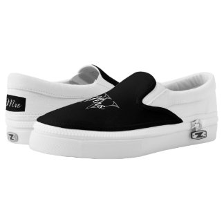 "CHIC SLIP-ON ZIPZ_""Mrs"" OVER MONOGRAM Printed Shoes"