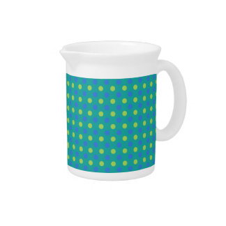 Chic Small Pitcher, Jug, Blue, Green Polka Dots Pitcher