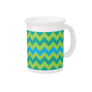 Chic Small Pitcher or Jug, Blue, Green Chevrons