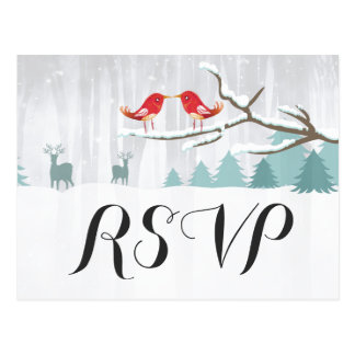 Chic Snow Wonderland Bird Deer Winter Wedding RSVP Postcard