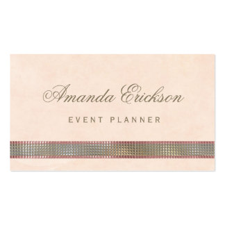 Chic Soft Peach FAUX Sequin Shimmer Event Planner Pack Of Standard Business Cards