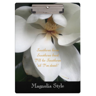 CHIC SOUTHERN MAGNOLIA STYLE FLORAL CLIPBOARD