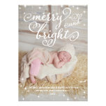 Chic Sparkling Merry & Bright Holidays Photo Card Personalised Invitation