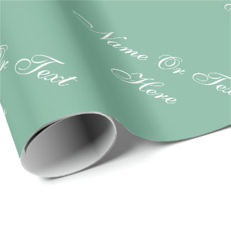 Chic Spearmint Green White Custom Name Text Words Wrapping Paper