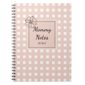 CHIC SPIRAL NOTEBOOK_MOMMY NOTES_PINK GINGHAM NOTEBOOK