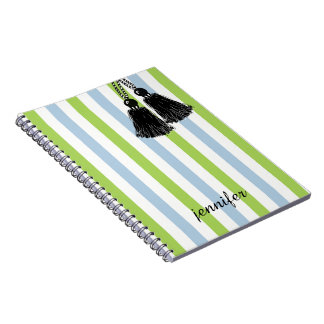 CHIC SPIRAL NOTEBOOK_TRENDY BLACK TASSELS AND NAME NOTEBOOKS