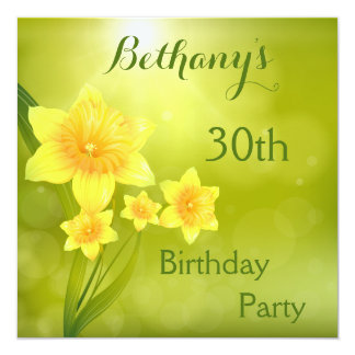 Chic Spring Daffodils Bokeh 30th Birthday Party Card