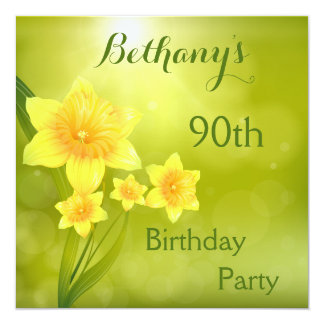 Chic Spring Daffodils Bokeh 90th Birthday Party Card