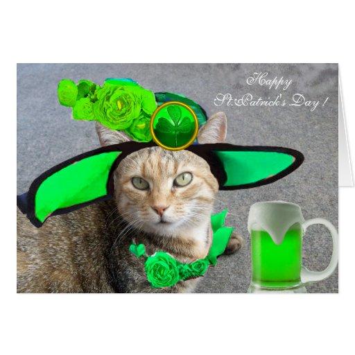 CHIC ST.PATRICK'S DAY CAT,GREEN ROSES,IRISH BEER GREETING CARD