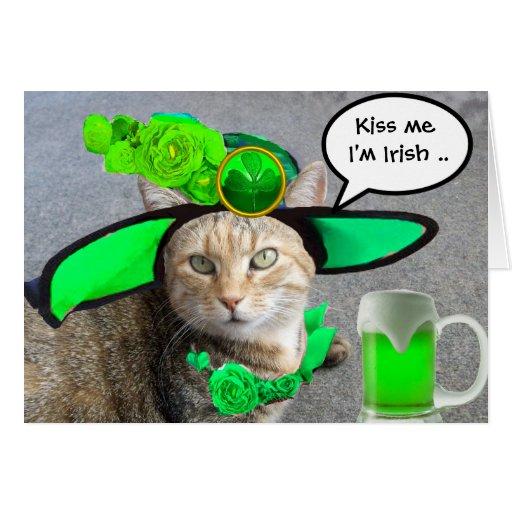 CHIC ST.PATRICK'S DAY CAT,GREEN ROSES,IRISH BEER CARD