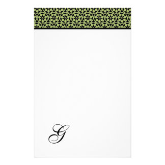 CHIC STATIONARY_345 GREEN FLOWERS- PERSONALISED STATIONERY