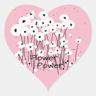 """CHIC STICKER_""""Flower Power!"""" WHITE POPPIES_DIY Heart Sticker"""
