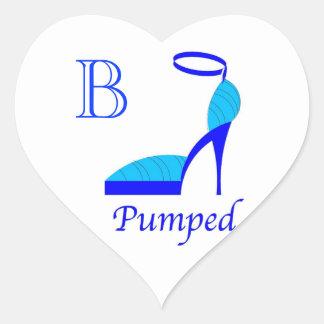 """CHIC STICKER_""""PUMPED"""" BLUE PUMPS WITH MONOGRAM HEART STICKER"""