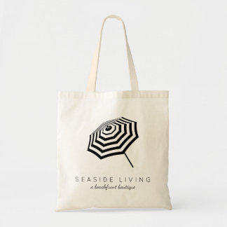 Chic Striped Beach Umbrella Logo Budget Tote Bag