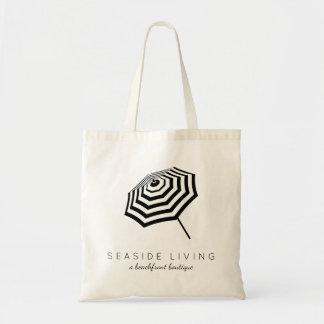 Chic Striped Beach Umbrella Logo Budget Tote Bag