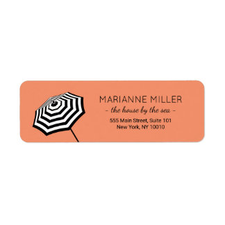 Chic Striped Beach Umbrella Logo Coral Return Address Label