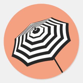 Chic Striped Beach Umbrella Logo Coral Round Sticker