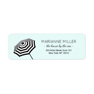 Chic Striped Beach Umbrella Logo Mint Return Address Label