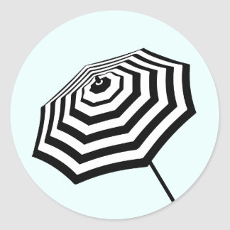 Chic Striped Beach Umbrella Logo Mint Round Sticker