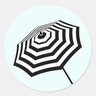 Chic Striped Beach Umbrella Logo Mint Round Sticker