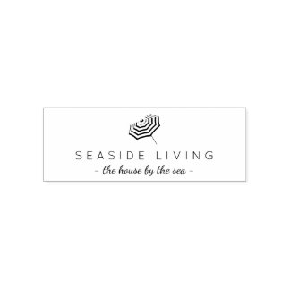 Chic Striped Beach Umbrella Logo Rubber Stamp