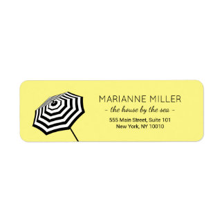 Chic Striped Beach Umbrella Logo Yellow Return Address Label