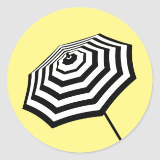 Chic Striped Beach Umbrella Logo Yellow Round Sticker