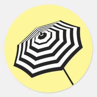 Chic Striped Beach Umbrella Logo Yellow Round Sticker