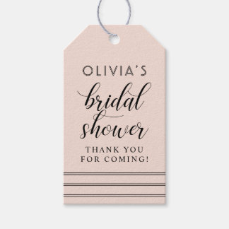 Chic Stripes | Blush Pink Bridal Shower Gift Tags