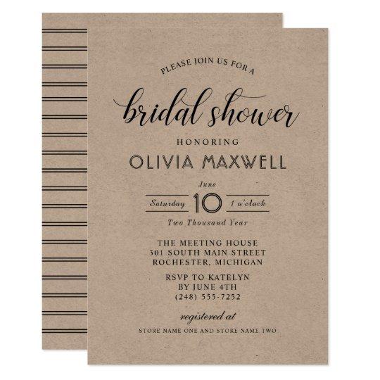 Chic Stripes Bridal Shower Invitation | Kraft