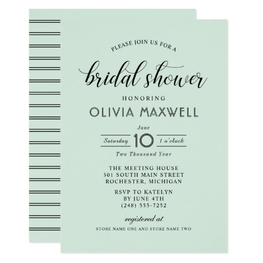 Chic Stripes Bridal Shower Invitation | Mint Green