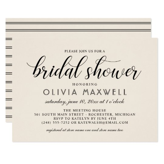 Chic Stripes Bridal Shower Invitation | Warm White