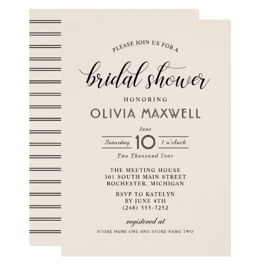 Chic Stripes Bridal Shower Invitation   Warm White