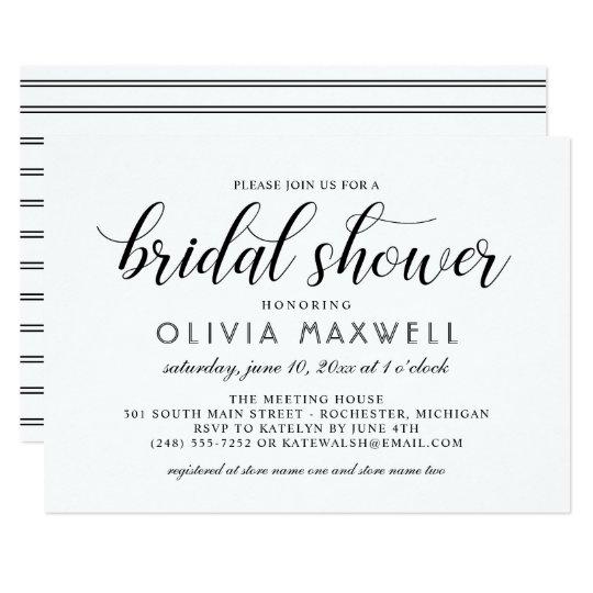 Chic Stripes Bridal Shower Invitation | White