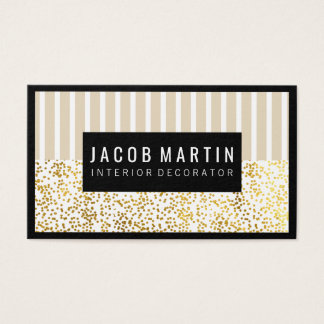 Chic Stripes Gold Dotted Pattern Black Border