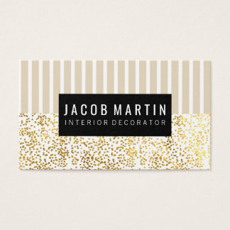 Chic Stripes Gold Dotted Pattern Business Card
