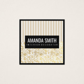 Chic Stripes Gold Dotted Pattern Square Business Card