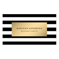 Chic Stripes in Gold | Business Cards at Zazzle