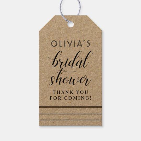 Chic Stripes | Kraft Bridal Shower Gift Tags