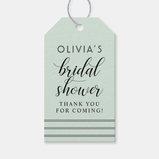Chic Stripes | Mint Green Bridal Shower Gift Tags
